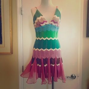 Boutique designer dress pink blue green small